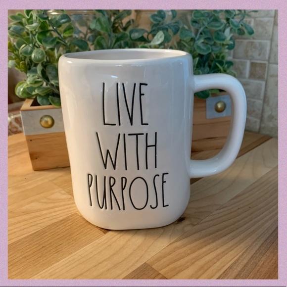 "RAE DUNN ""LIVE WITH PURPOSE"" LL CERAMIC MUG"